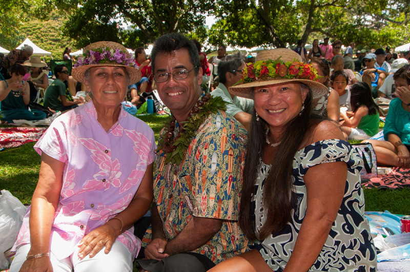 DSC_2111 Local residents look festive in lauhala hats and lei at Sunday's Prince Lot Hula Festival