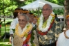 DSC_9786 Lei bedecked Malia Kau awardees Kumu Hula Joan Lindsey and Ed Collier