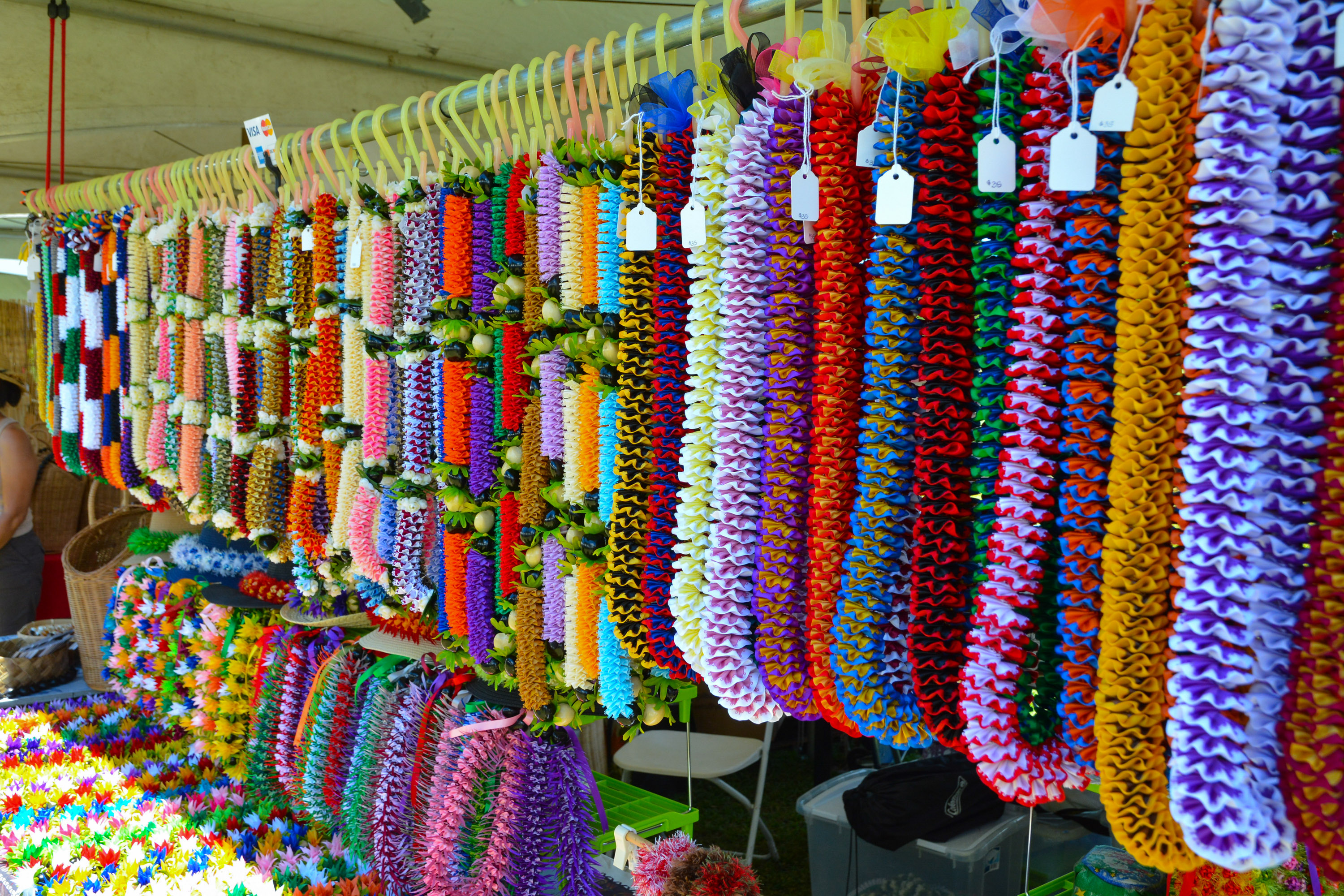 Variety of ribbon lei make a colorful statement at