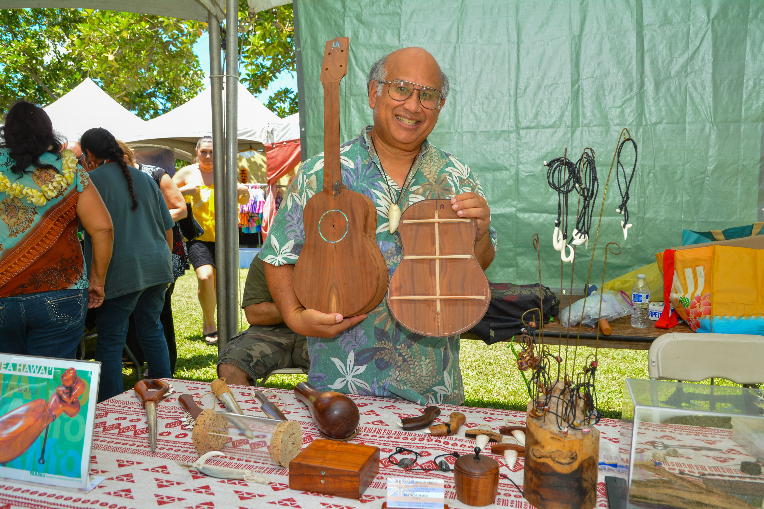 Cultural practitioner Keith Maile demonstrates ukul